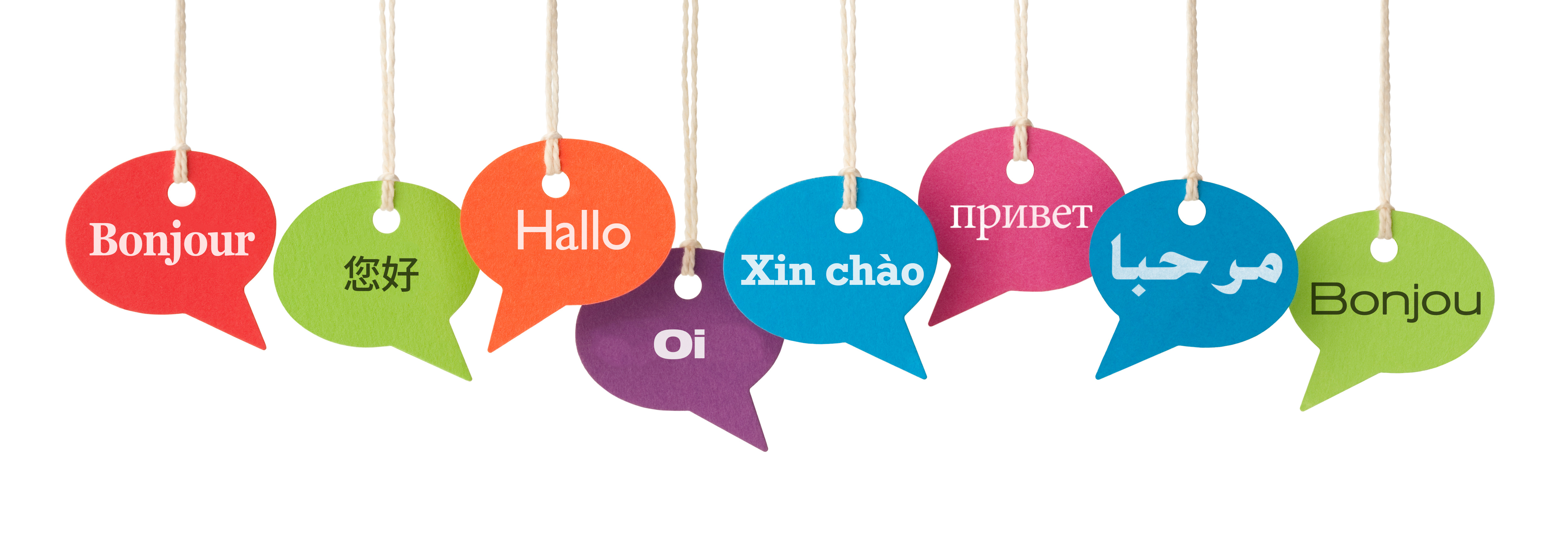 Speech bubbles contain the word HELLO in eight different languages. French, Chinese, German, Portuguese Br, Vietnamese, Russian, Arabic and Haitian Creole.